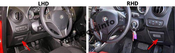 Die Position der Sicherungen im Fahrgastraum: Alfa Romeo MiTo (2014, 2015, 2016, 2017)