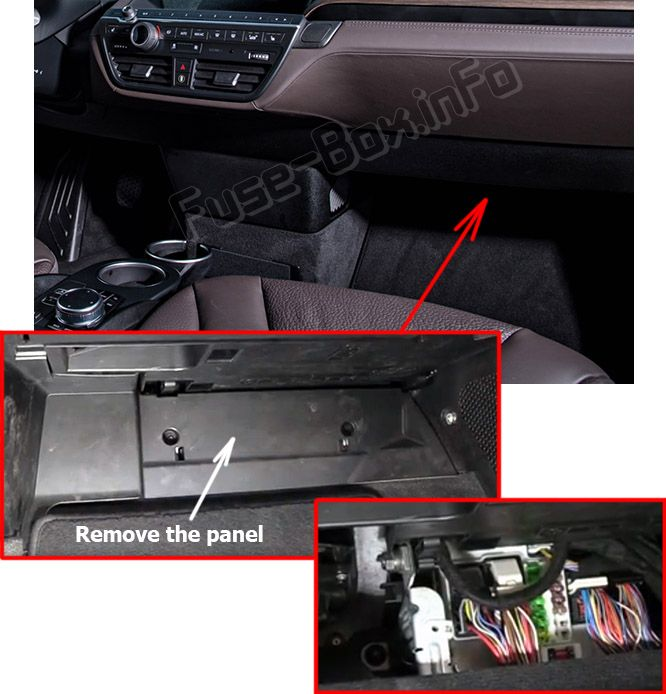 The location of the fuses in the passenger compartment: BMW i3 (2014, 2015, 2016, 2017, 2018, 2019)