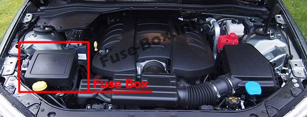 The location of the fuses in the engine compartment: Chevrolet SS