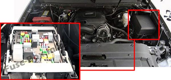 The location of the fuses in the engine compartment: Chevrolet Tahoe (2007, 2008, 2009, 2010, 2011, 2012, 2013, 2014)