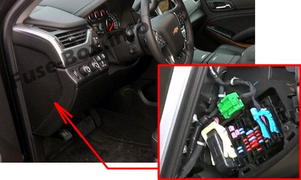The location of the fuses in the passenger compartment: Chevrolet Suburban / Tahoe (2015, 2016, 2017, 2018)