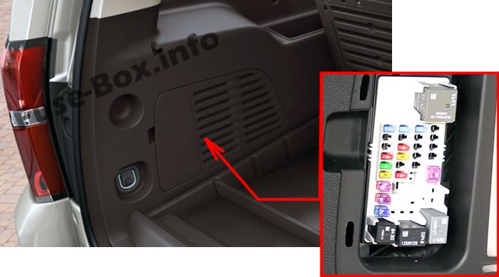 The location of the fuses in the trunk: Chevrolet Suburban / Tahoe (2015, 2016, 2017, 2018)
