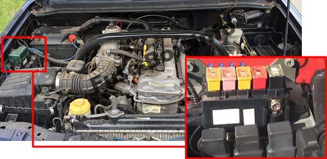 The location of the fuses in the engine compartment: Chevrolet Tracker (1999, 2000, 2001, 2002, 2003, 2004)