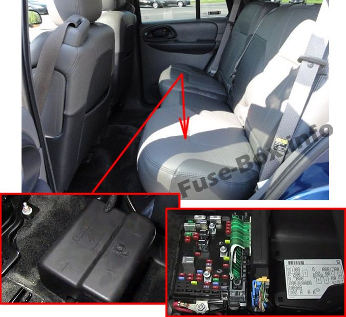 The location of the fuses in the passenger compartment: Chevrolet TrailBlazer