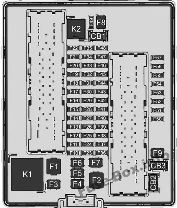 Diagrama de la caja de fusibles del maletero: Chevrolet Traverse (2018, 2019)