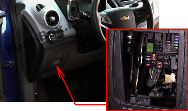 The location of the fuses in the passenger compartment: Chevrolet Trax