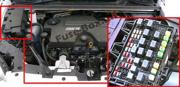 The location of the fuses in the engine compartment: Chevrolet Uplander