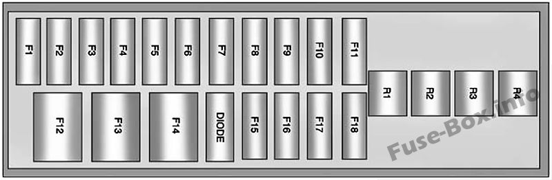 Instrument panel fuse box #1 diagram: Chevrolet Volt (2011, 2012, 2013, 2014, 2015)