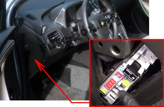 The location of the fuses in the passenger compartment: Chevrolet Volt (2011, 2012, 2013, 2014, 2015)