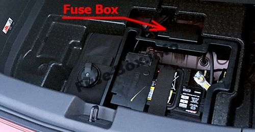 The location of the fuses in the trunk: Chevrolet Volt (2016, 2017, 2018, 2019)