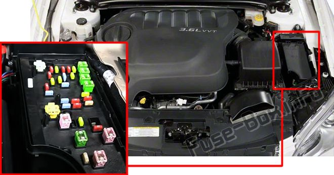 The location of the fuses in the engine compartment: Chrysler 200 (2011, 2012, 2013, 2014)