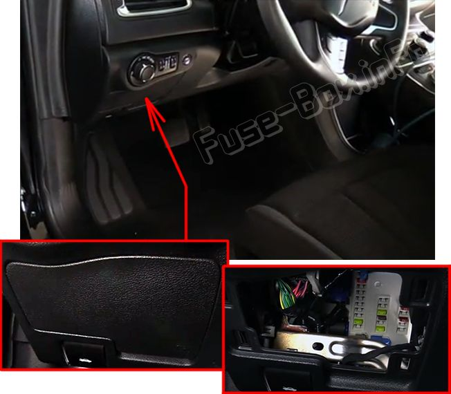 The location of the fuses in the passenger compartment: Chrysler 200 (2015, 2016, 2017)
