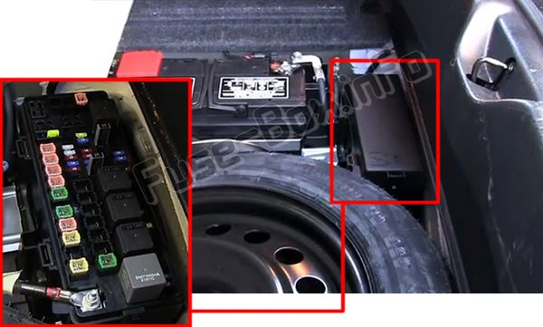 The location of the fuses in the trunk: Chrysler 300 / 300C (2011-2018)