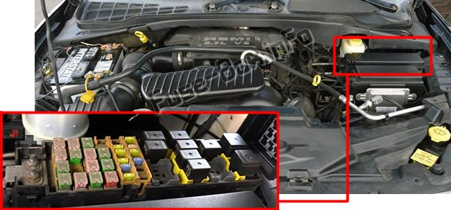 The location of the fuses in the engine compartment: Chrysler Aspen