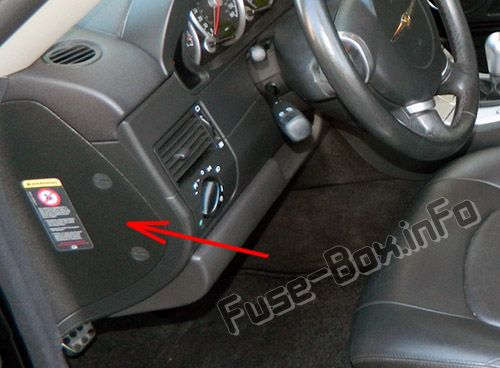 The location of the fuses in the passenger compartment: Chrysler Crossfire