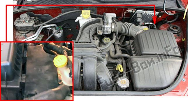 The location of the fuses in the engine compartment: Chrysler PT Cruiser