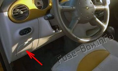 The location of the fuses in the passenger compartment: Chrysler PT Cruiser (2001, 2002, 2003, 2004, 2005)