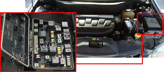 The location of the fuses in the engine compartment: Chrysler Pacifica (2004, 2005, 2006, 2007, 2008)