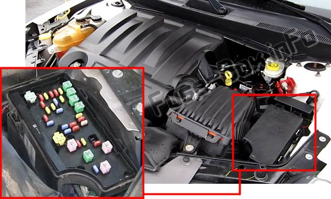 The location of the fuses in the engine compartment: Chrysler Sebring (2007, 2008, 2009, 2010)