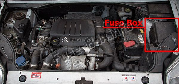 engine compartment fuse box the location of the fuses in the engine  compartment: peugeot partner (2008-2018