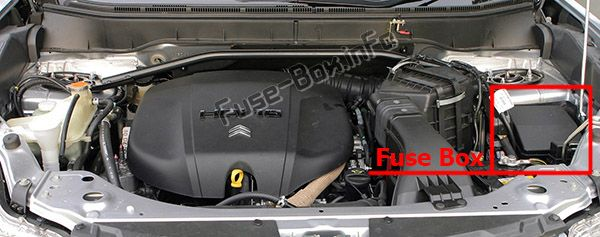 The location of the fuses in the engine compartment: Citroen C-Crosser (2008, 2009, 2010, 2011, 2012)
