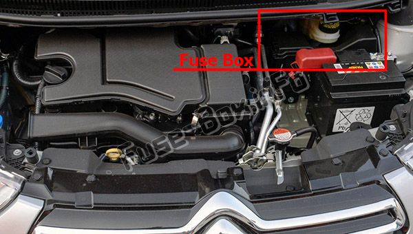 The location of the fuses in the engine compartment: Citroen C1 (2014, 2015, 2016, 2017, 2018, 2019)