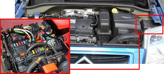 The location of the fuses in the engine compartment: Citroen C2 (2007, 2008)
