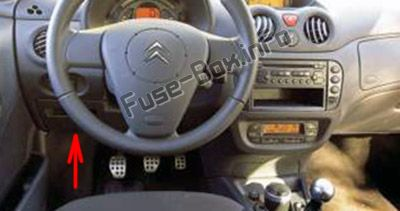 The location of the fuses in the passenger compartment (LHD): Citroen C2 (2007, 2008)