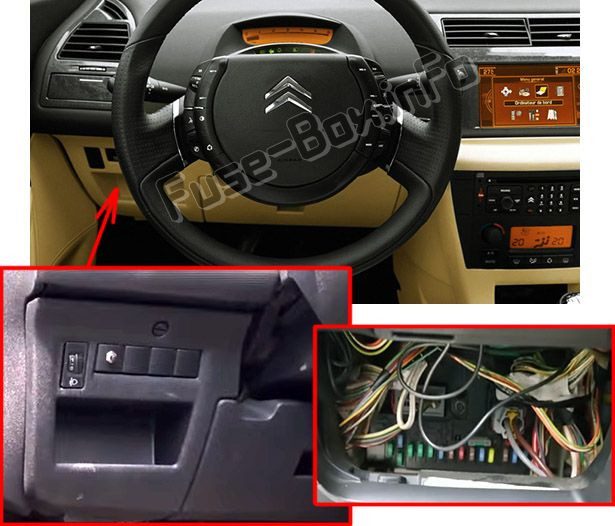 The location of the fuses in the passenger compartment (LHD): Citroen C4 (2004-2010)