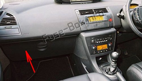 The location of the fuses in the passenger compartment (RHD): Citroen C4 (2004-2010)