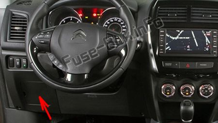 The location of the fuses in the passenger compartment (LHD): Citroen C4 Aircross (2012-2017)