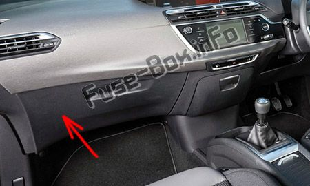 The location of the fuses in the passenger compartment (RHD): Citroen C4 Picasso II (2013-2018)
