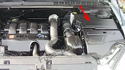 The location of the fuses in the engine compartment: Citroen C5
