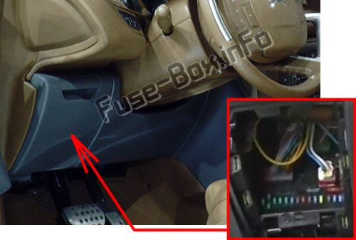 The location of the fuses in the passenger compartment (LHD): Citroen C5