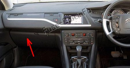 The location of the fuses in the passenger compartment (RHD): Citroen C5