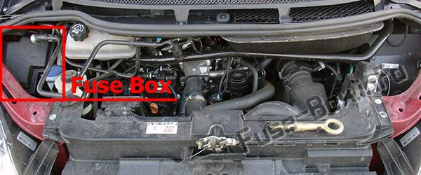 The location of the fuses in the engine compartment: Citroen C8 (2002-2008)