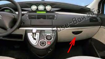The location of the fuses in the passenger compartment (LHD): Citroen C8 (2002-2008)