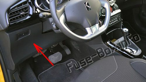 The location of the fuses in the passenger compartment (LHD): Citroen DS3 (2009-2016)