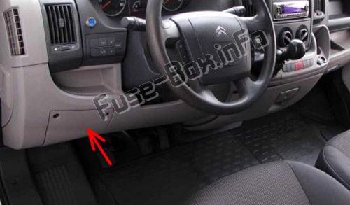 the location of the fuses in the passenger compartment (lhd): citroen  jumper (
