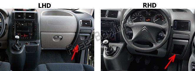 The location of the fuses in the passenger compartment: Fiat Scudo (2007-2016)