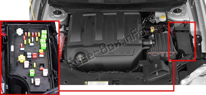 The location of the fuses in the engine compartment: Dodge Avenger (2008, 2009, 2010, 2011, 2014, 2014)