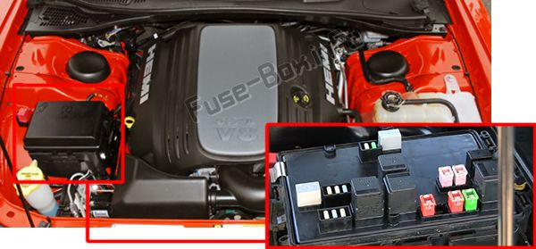 The location of the fuses in the engine compartment: Dodge Challenger (2009, 2010, 2011, 2012, 2013, 2014)