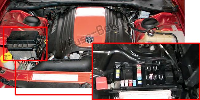 dodge charger (2006 2010) \u003c fuse box diagram 2007 dodge charger 2.7 engine the fuse box is located in the engine compartment