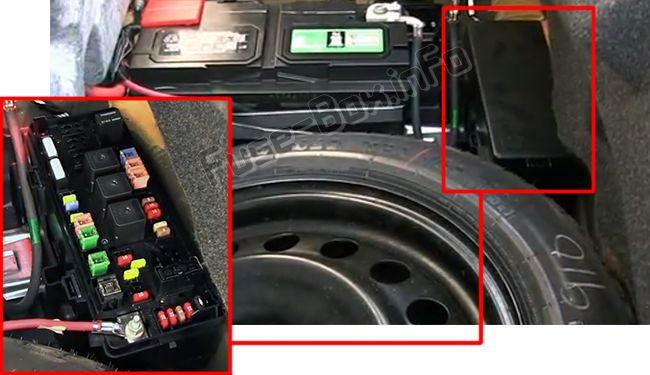 The location of the fuses in the trunk: Dodge Challenger (2009, 2010, 2011, 2012, 2013, 2014)