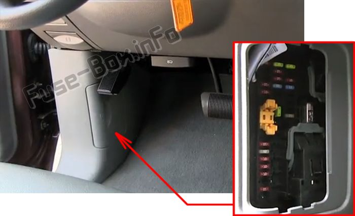 The location of the fuses in the passenger compartment: Dodge Durango (2004, 2005, 2006, 2007, 2008, 2009)
