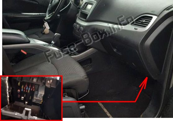 The location of the fuses in the passenger compartment: Dodge Journey (2011, 2012, 2013, 2014, 2015, 2016, 2107, 2018)