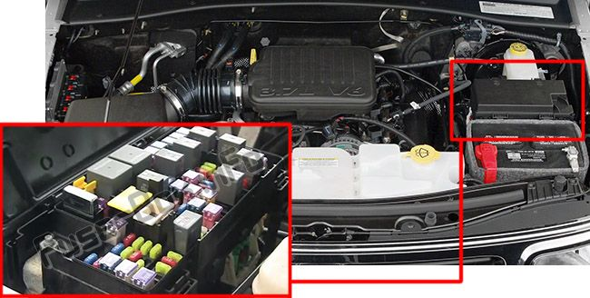 The location of the fuses in the engine compartment: Dodge Nitro (2007, 2008, 2009, 2010, 2011, 2012)