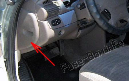 The location of the fuses in the passenger compartment: Dodge Stratus (2001, 2002, 2003, 2004, 2005, 2006)