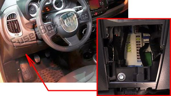 The location of the fuses in the passenger compartment: Fiat 500L (2014, 2015, 2016, 2017, 2018, 2019)