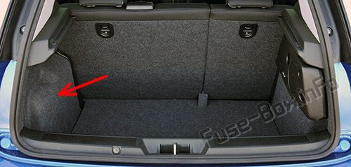 The location of the fuses in the trunk: Fiat Bravo (2013, 2014, 2015)